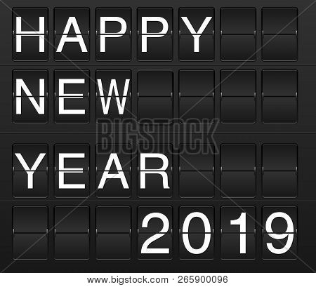 Happy New Year 2019 Card In Display Board Style (solari Board, Flightboard, Flipboard), Black And Wh