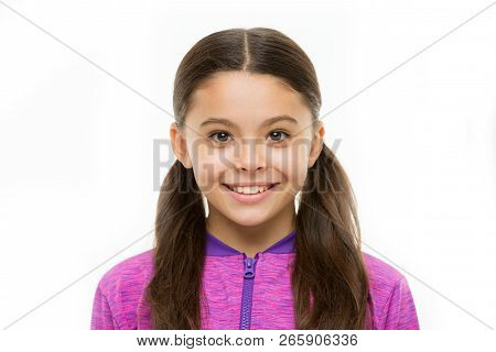 Happy Childhood Concept. What Is Difference Between Phony And Sincere Smile. Girl Cute Child Happy S