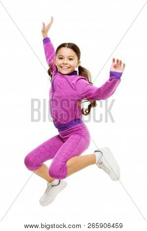 poster of Deal with long hair while exercising. Girl cute kid with long ponytails sportive costume jump isolated on white. Working out with long hair. Sport for girls. Guidance on working out with long hair.