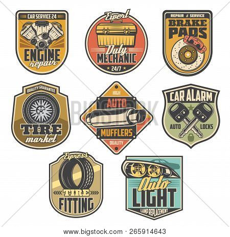 Car Service Vintage Badges With Auto Repair Tools And Automotive Spare Parts. Motor Vehicle Engine,