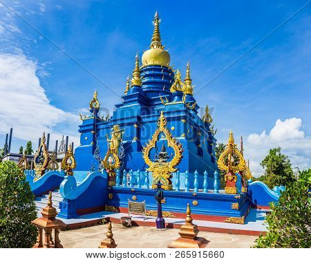 Blue Pagoda At Wat Rong Sua Ten Temple Chiang Rai Province, Thailand, It's A Popular Destination And