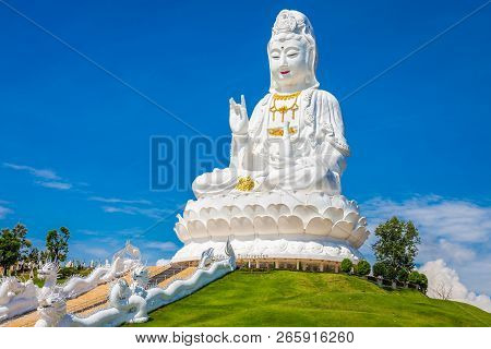 Landscape Of Wat Huay Pla Kung Temple Statue Of Guan Yin Travel Destination The Famous Place Religio
