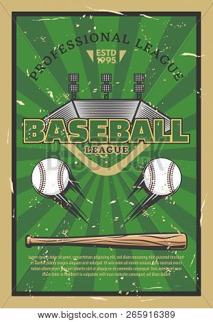 Baseball Or Softball Sport Game Stadium Field, Balls, Bat And Infield Bases. Baseball League Tournam