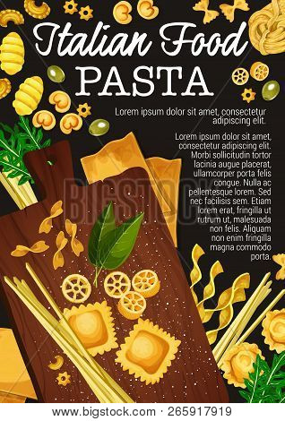 Pasta Making Of Traditional Italian Food. Vector Spaghetti, Macaroni And Fettuccine, Penne, Farfalle
