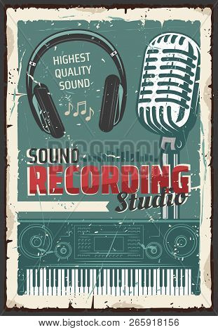 Music Sound Recording Studio, Retro Microphone And Headphones, Equalizer Wave, Electric Piano Keyboa