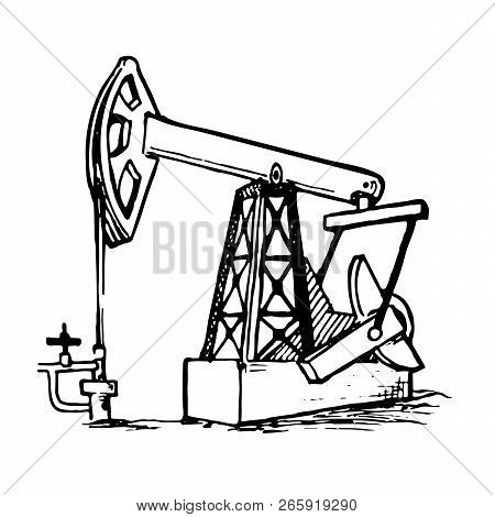 A Pumpjack Is The Overground Drive For A Reciprocating Piston Pump In An Oil Well. Sketch Style Draw
