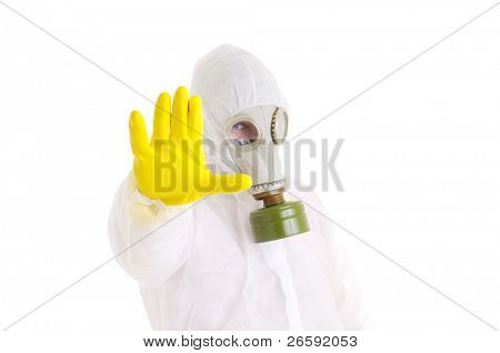 Man gesturing stop. Isolated over white