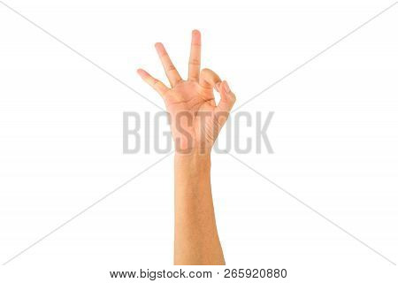 Asian Female Hand Showing Fingers Means Agree,okay,allow On White Background With Clipping Path.