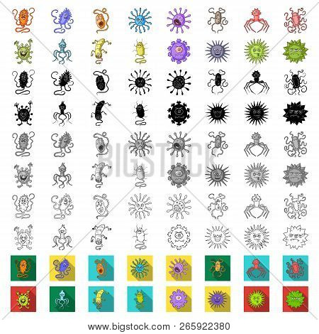 Types Of Funny Microbes Cartoon Icons In Set Collection For Design. Microbes Pathogenic Vector Symbo