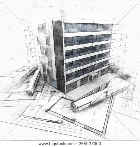 sketch of a modern apartment building on top of blueprints