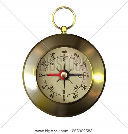 Vintage Gold-framed Or Brass Compass With Wind Rose Realistic 3d Vector Illustration Isolated In Whi