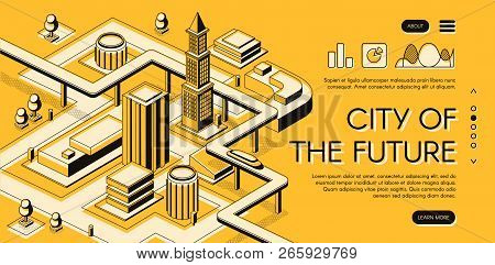 City Of The Future Isometric Vector Web Banner With Futuristic Car Moving On Overpass Highway Betwee