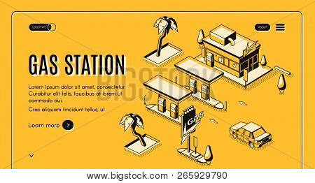 Gas Station Isometric Vector Web Banner With Car Arriving At Vintage Gas Filling Station Black Line