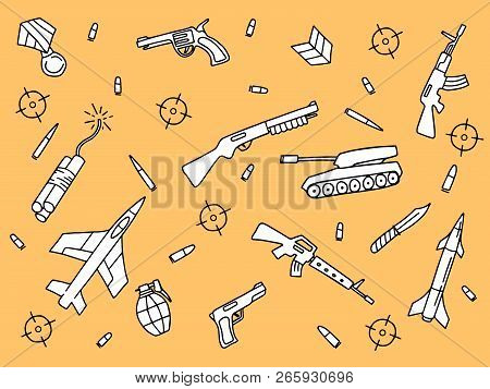 doodle art military object riffle shotgun and handgun with yellow orange background vector illustration poster