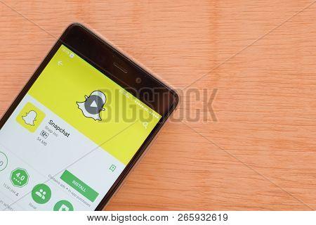 Bekasi, West Java, Indonesia. October 30, 2018 : Snapchat Dev Application On Smartphone Screen. Snap