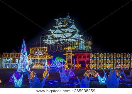 Osaka Castle Night Illumination, Osaka, Japan - November 2017 : Osaka Castle Decorated In Reminiscen