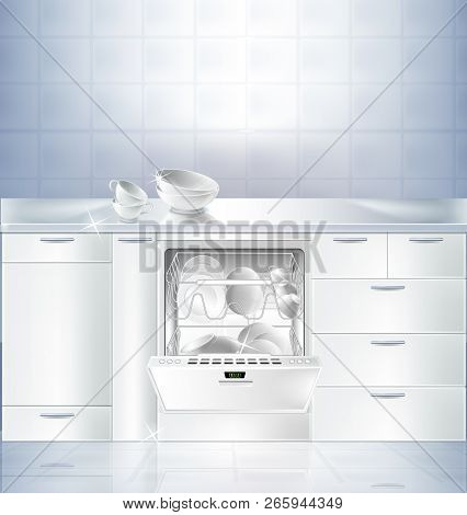 realistic mockup of kitchen room with white clean floor and wall. Cupboard with built-in dishwasher machine filled with clean plates. Template, background for presentation detergent product poster