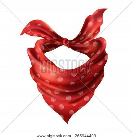 3d Realistic Silk Red Neck Scarf. Fabric Cloth Of Dotted Neckerchief. Scarlet Bandana, Outerwear Of