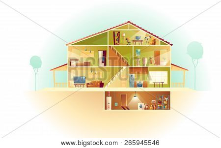 Vector House Interior In Cross Section With Basement And Garret, Cartoon Multistorey Private Buildin
