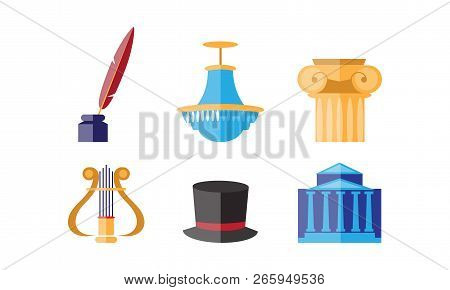 Theatre Icons Set, Theatrical Premiere Or Rehearsal Elements Vector Illustration On A White Backgrou