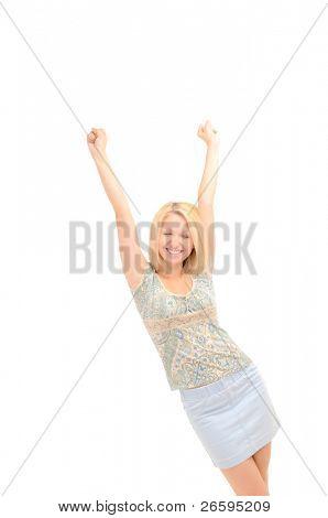 Attractive joyful blonde, hands up