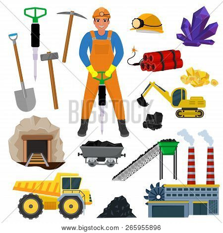Miner Vector Mine Worker Builder Character In Helmet Mining Coal Minerals In Rocks Tunnel With Excav