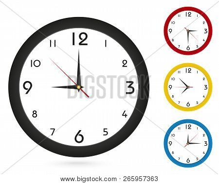 Vector Simple Classic Wall Clock, For Your Clock Design. Black Clock, Red Clock, Yellow Clock, Blue