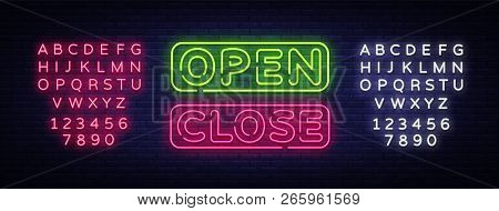 Open Close Neon Text Vector. Open Close Neon Signboard, Design Template, Modern Trend Design, Night