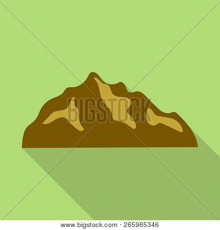 Brown Hills Mountain Icon. Flat Illustration Of Brown Hills Mountain Icon For Web Design