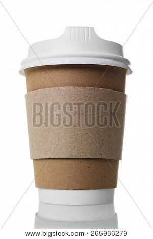 Disposable Paper Cup With Lid And Layer For Hot Isolated On White Background