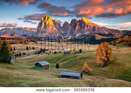Dolomites. Landscape Image Of Seiser Alm A Dolomite Plateau And The Largest High-altitude Alpine Mea