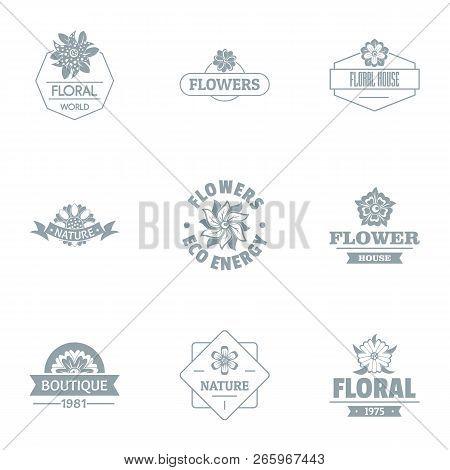 Florist Logo Set. Simple Set Of 9 Florist Logo For Web Isolated On White Background