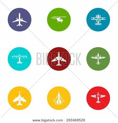 Airman icons set. Flat set of 9 airman icons for web isolated on white background poster