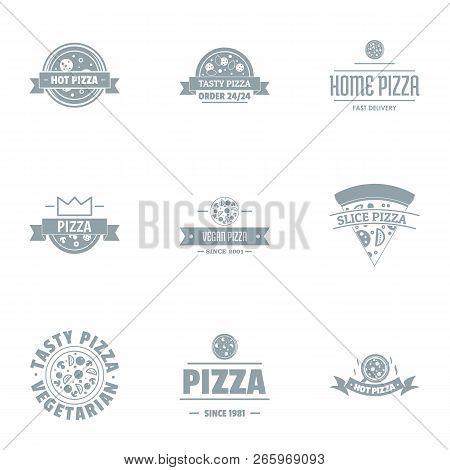 Hot Pizza Logo Set. Simple Set Of 9 Hot Pizza Logo For Web Isolated On White Background