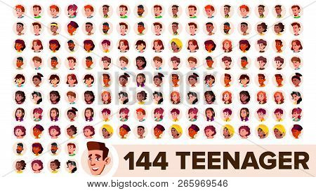 Teenager Avatar Set Vector. Girl, Guy. Multi Racial. Face Emotions. Multinational User People Portra