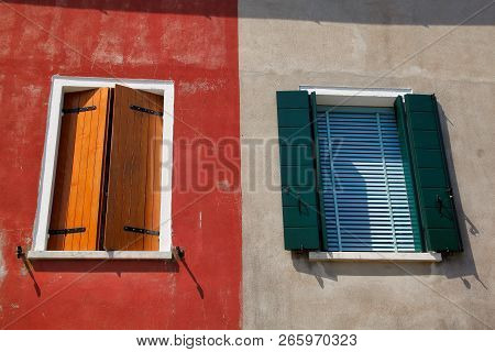 View Of House Windows With Shutter In The Burano Venice Italy