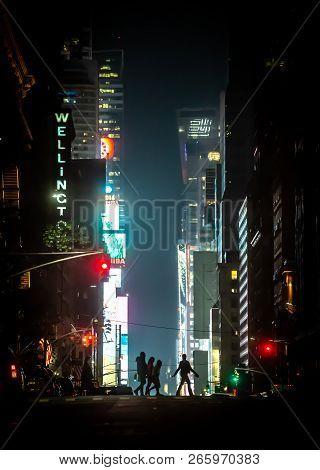 New York, Usa - May 03, 2016: New York City Streets At Night. Lights And Shadows Of Nyc. Lights Of A