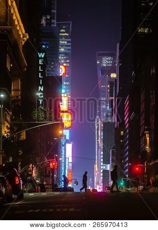 New York, Usa - May 03, 2016: New York City Streets At Night. Lights And Shadows Of Nyc. Lights Of A