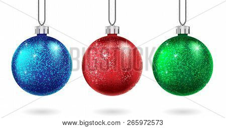 Set Of Christmas Red, Blue And Green Ball Isolated. Sparkling Glitter Bauble. Christmas And New Year