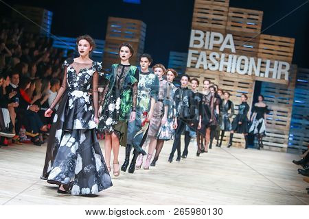 Zagreb, Croatia - October 25, 2018 : Fashion Models Wearing Clothes For Autumn-winter, Designed By J