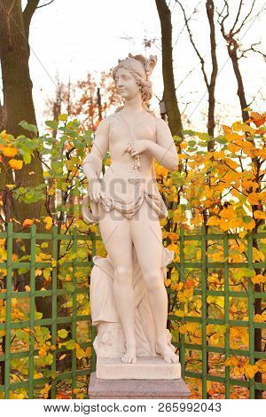 The Sibyl European Statue At Autumn Evening In Saint Petersburg, Russia. Sibyl In The Ancient Cultur