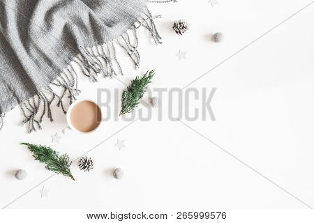 Christmas Decorations, Plaid, Pine Cones, Fir Tree Branches, Cup Of Coffee On White Background. Chri