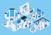Isometric exhibition hall with people. 3d promotional stands. Exposition booth. Blank mockup. Vector illustration. poster