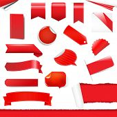 Red Labels And Stickers Set, Isolated On White Background, Vector Illustration poster