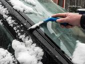 scraping ice and snow from car windshield poster