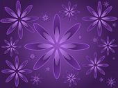 Graphic illustration of random sized flowers against a purple gradient background. poster