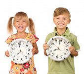 Child holding big clock isolated on white background poster