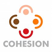 Cohesion logo. Flat illustration of cohesion logo for web design poster