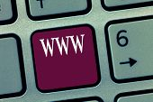 Word writing text Www. Business concept for Network of online content Formatted in HTML and accessed via HTTP poster