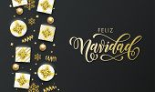 Feliz Navidad Spansih Merry Christmas golden greeting card on premium black background. Vector Christmas calligraphy lettering, gifts, snowflakes and gold glitter stars poster